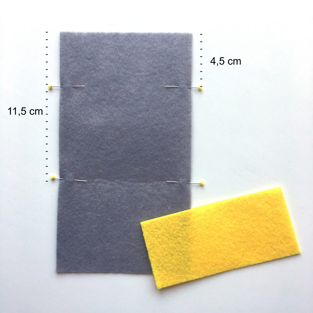 DIY Kartenetui aus Filz nähen made by Oni Markierungen