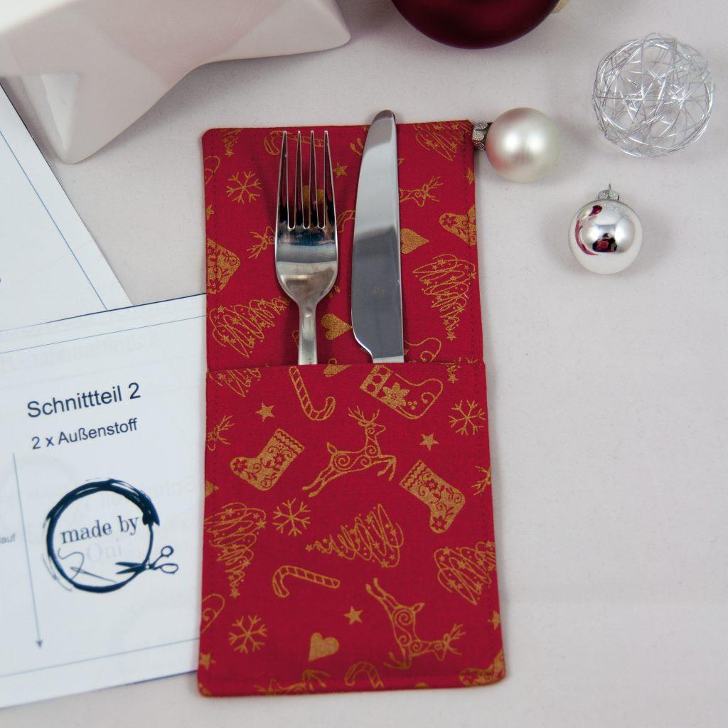 Bestecktasche nähen Weihnachten made by Oni